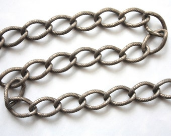 3 feet Vintage Chain  // 1960s Brass Muted Toned Coated Steel Textured Curb Link Chain // Vintage Jewelry Supply // 9mm x 15mm