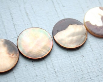 Vintage 1950s Mother of Pearl Cabochon Discs// Round// 22mm // New Old Stock// 4 Pieces