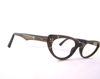 1950s Cats Eye Eyeglasses // 50s Vintage Frames // Floral inlay Bronze color #A5
