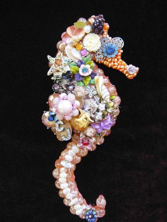 Saya Seahorse Vintage Jewelry Mosaic Wall Art