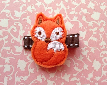 Orange Fox Felt Hair Clip