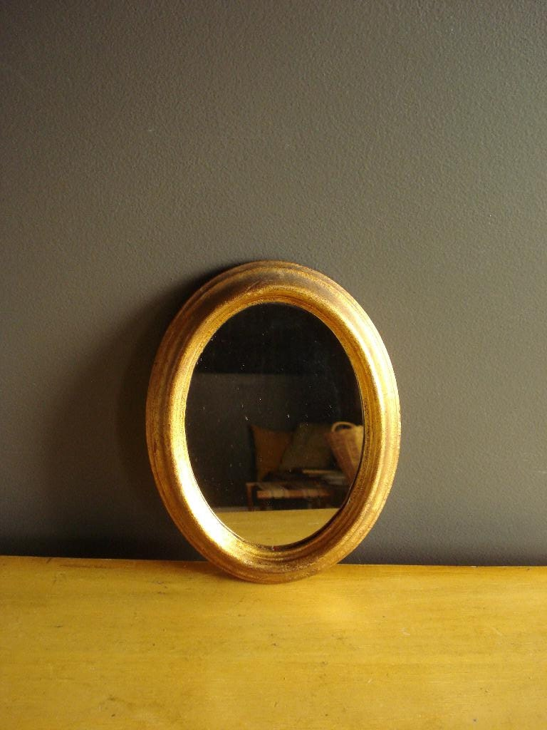 Pretty gold mirror small oval framed vintage mirror made for Small gold framed mirrors