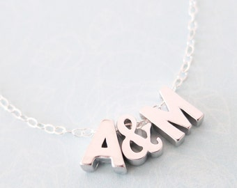 Personalised Silver Letter Necklace - Initial necklace, monogram, friendship, ampersand couples initial necklace