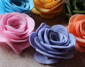 Vintage Carousel - XXLarge 3D Rolled Roses - 6 Die Cut Felt Flowers - Unassembled Rosettes