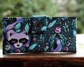 Vegan womens wallet in cute raccoon fits iphone