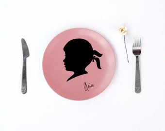 Personalized Kids Melamine Plate Pink Childrens Silhouette Cameo Dinnerware Girls Birthday Display Plate Custom Gift