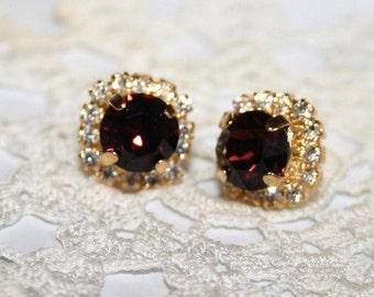 Marsala Bridal Earrings Burgundy ear studs Marsala Earrings Gold, dark Wine Swarovski Crystal Wedding Post Earrings, Statement Jewelry
