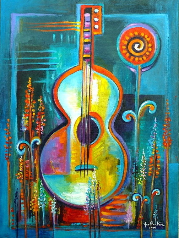 Art moderne original abstrait acrylique peinture toile musique for Peinture abstraite moderne