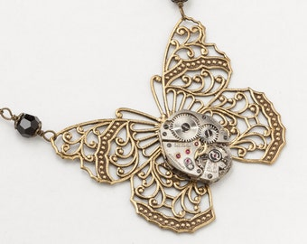 Steampunk Necklace vintage silver watch movement gold filigree butterfly black crystal pendant Statement necklace Gift Steampunk Jewelry