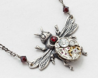 Steampunk Necklace Vintage watch movement gears red garnet crystal silver bee pendant necklace Steampunk Jewelry Statement necklace