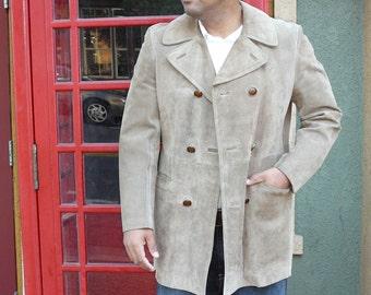 Cresco Suede Men's Jacket - Camel - Taupe - Size 38 - Spring Fashion