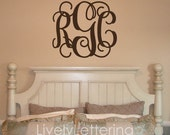 Monogram decal, 3 initial monogram decal, wall initials, Nursery wall decal, Dorm decor, Cursive wall letters, Intertwined monogram W00931