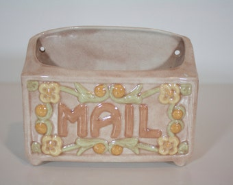 Vintage Glazed Ceramic Mail Pink with Flowers Hanging Wall Vase- Marked and Signed