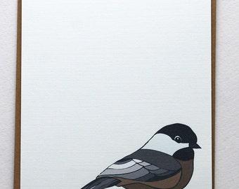 Flock of Birds Set 2 in Brown, Blue, Orange , Gray, Black and Taupe -Set of 4 flat Notecards and Kraft Envelopes