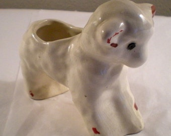 Smallest Vintage McCoy Little Lamb Planter - Pottery