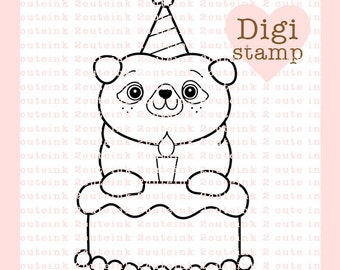 Birthday Pug Digital Stamp for Card Making, Paper Crafts, Scrapbooking, Hand Embroidery, Invitations, Stickers, Coloring Pages