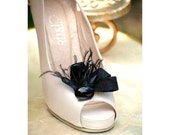 Shoe Clips Black / Ivory / White / Hot Pink Loops & Ostrich Feathers. Handmade Bride Bridal Bridesmaids Gift, Couture Preppy Winter Birthday