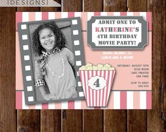 Pink and Girly Movie Night Birthday Photo Party Invitation - PRINTABLE INVITATION DESIGN