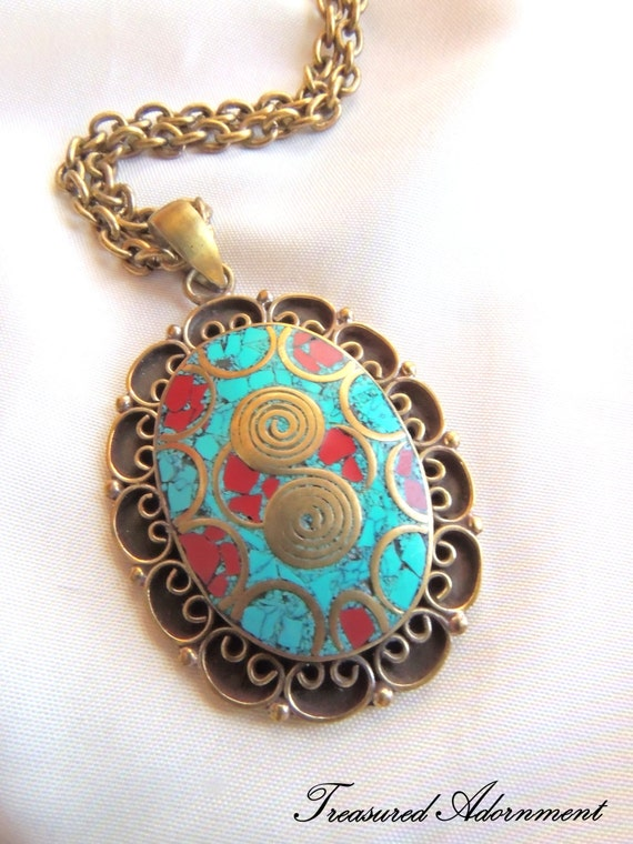 READY to SHIP, Tibetan Brass Pendant, Turquoise and Red Mosaic Oval Flower, Statement Necklace, Raw Brass, OOAK, New Years Party, Eid gift