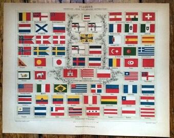 1889 international country flags original antique print no. D