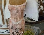 Vintage Inspired Tabletop Dress Form Mannequin Angel Wings Crown Custom Business Name