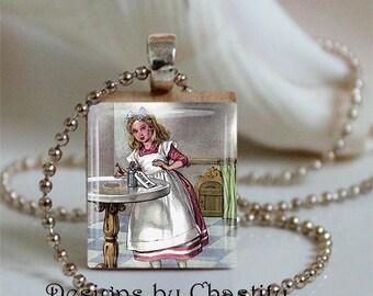 """Vintage Alice in Wonderland """"Drink Me""""  Scrabble Charm Necklace"""