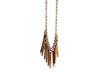 Fringe Necklace, Brass Fringe Necklace, Gold Fringe, Vintage Brass Jewelry, Tribal Fringe Necklace