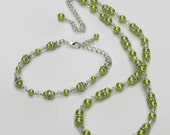 Lime Green Pearl Swarovski Crystal Necklace Bracelet, Gifts for Women Under 50, Wedding Jewelry, Bridesmaid, Black Friday, Cyber Monday