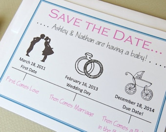 Save the Date for Baby Timeline Pregnancy Announcement Card Set of 10 with Envelopes