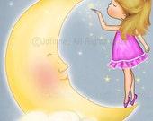 Girl and moon, kids wall art, girls wall art,kids room art,wall art prints, art for bedroom , girls bedroom art