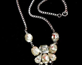 Rare Vintage 1950  Clear Rhinestone Lavalier Style Necklace CORO signed -wonderful collier for bride chic---Art.75/3 -