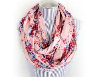 Soft Pink Floral Print Infinity Scarf, Coral, Blues and Yellow Fashion Jersey Knit Blend Loop Scarf