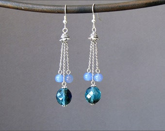 Teal and Blue Chain Tassel  Earrings, Day on Yaht