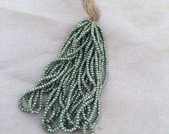 Antique French Steel cut  Bead hank Sea Foam Green