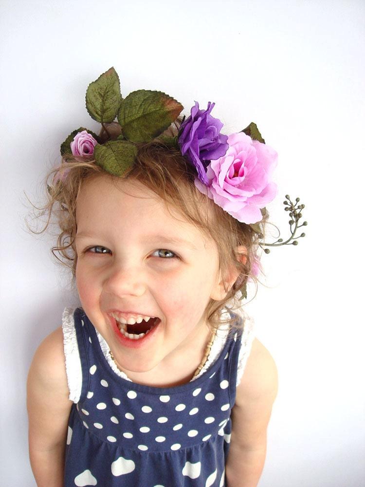 Purple flower crown wedding accessory woodland flower girl