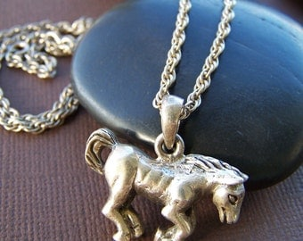 Annabell Vintage Estate Pendant - Sterling Silver Horse Necklace