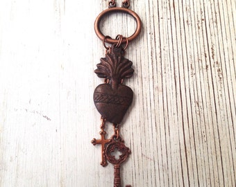 Super SALE Key to my Heart Mexican Milagros Sacred Heart Copper Cross & Key Charm Necklace OOAK