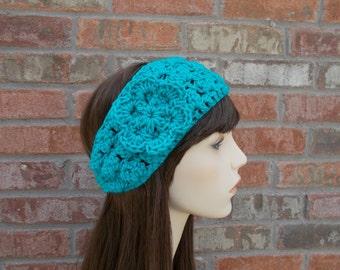 Blue Crochet Headband with Flower, Winter Headband, Headbands for Women, Crochet Ear Warmer, Knit Headband, Cute Headband, Handmade Headband