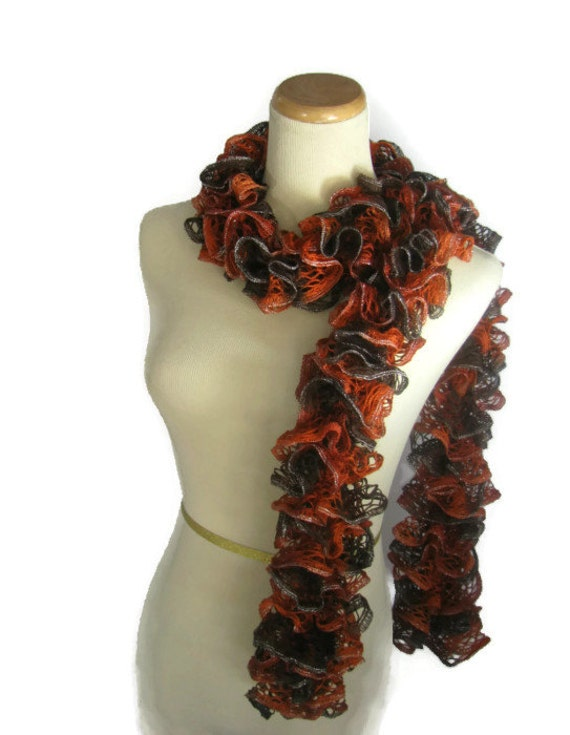 Hand Knit  Scarf Ruffle Scarf- Orange Scarf Rust Brown