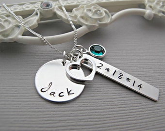 New Mom Necklace, Personalized Hand Stamped Jewelry, Monogram Name, Emerald Birthstone, Heart Necklace