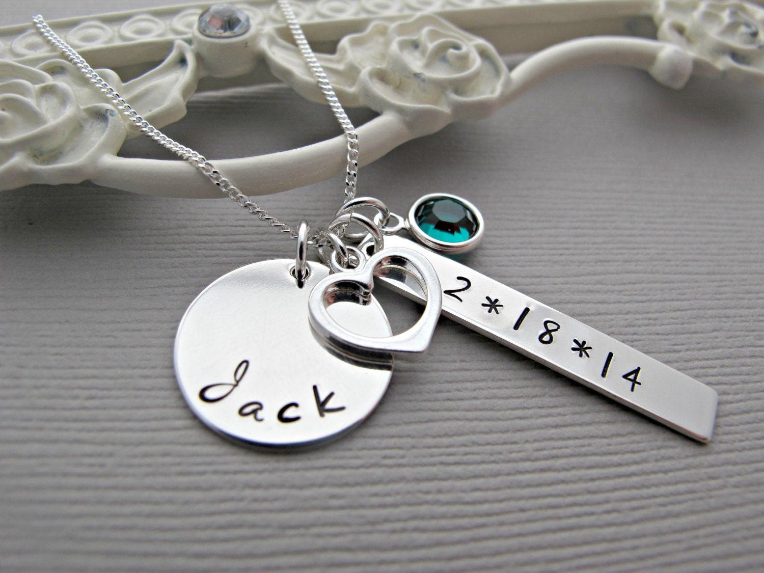 New Mom Necklace Personalized Hand Stamped by vonmeyerjewelry