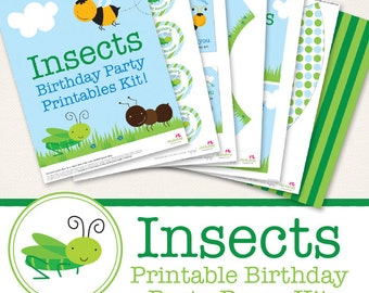 Insect birthday party printables collection - Over 45 pages of cute designs for your party decor