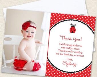 Ladybug Photo Thank You Cards - Professionally printed *or* DIY printable