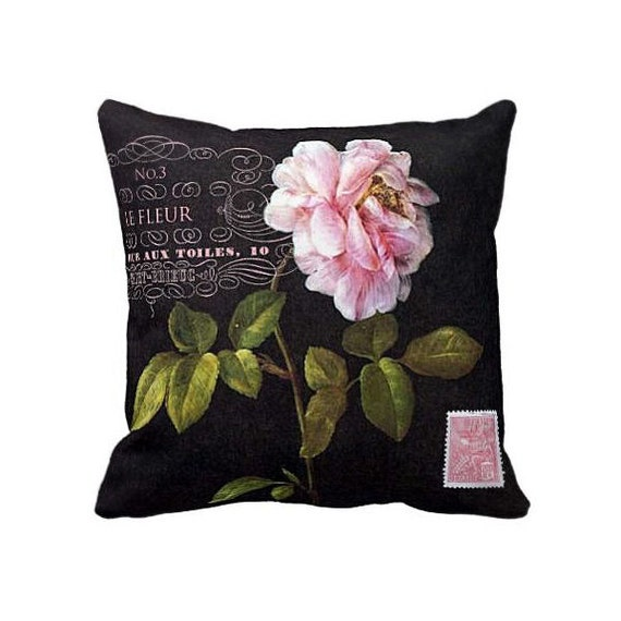 Modern Botanical Pillow : Pillow Cover Pink Rose Botanical Flower on Black by JolieMarche