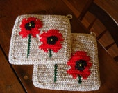 MADE TO ORDER Red Poppy - Poppies Potholders - Poppy Flower Kitchen Decor - Hot Pad, Pot Holders - Set of Two, Light Brown Mothers Day Gift