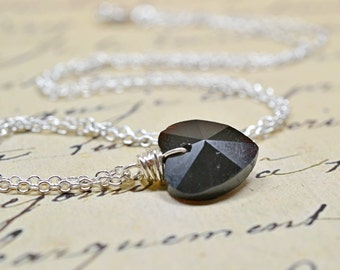 Black Heart Necklace, Glass Drop on Silver, Valentines Day Jewelry, Gothic Wedding Jewelry