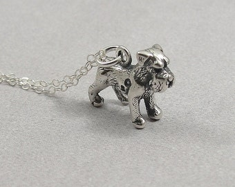 Schnauzer Necklace, Sterling Silver Miniature Schnauzer Charm on a Silver Cable Chain