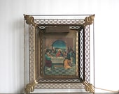 Lenticular Religious Picture, 1940s Lenticular Last Supper Jesus Brass Frame With Light