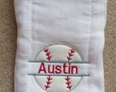 Burp Cloth Personalized Baseball Split Boy Customize Color Options Applique
