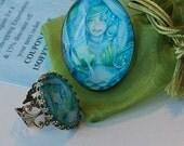Mermaid Ring - Mermaid Charm Ring - Mermaid Art Ring - Merfaerie - Goddess of the Sea - Turquoise Ring